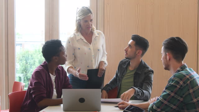 Female lecturer talking to three college student using laptop