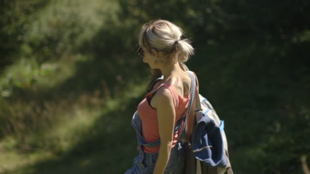Female looking at view in countryside