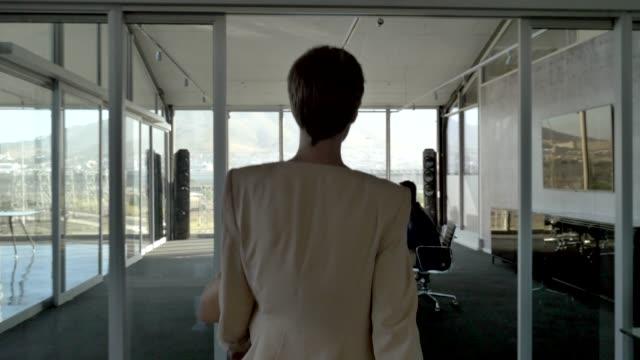 vídeos y material grabado en eventos de stock de female manager discussing with team in meeting - entrando