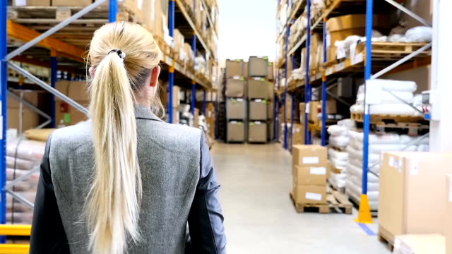 female manager walking in storage room - order stock videos & royalty-free footage