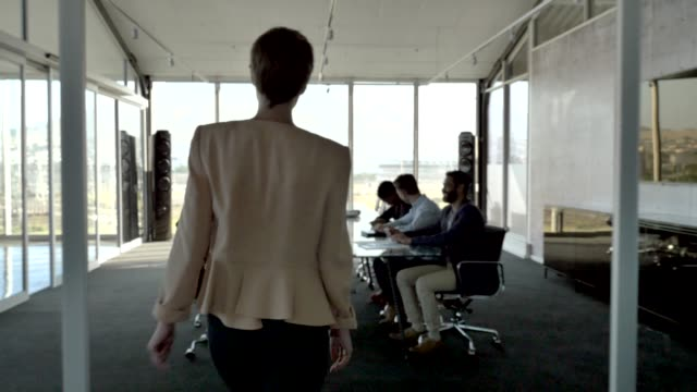 female manager with team in conference room - sala conferenze video stock e b–roll
