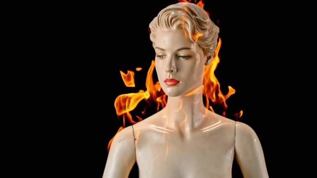 slo mo ld female mannequin caught on fire - mannequin stock videos & royalty-free footage