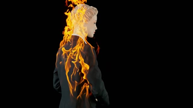slo mo ld female mannequin in a business suit caught on fire - mannequin stock videos & royalty-free footage