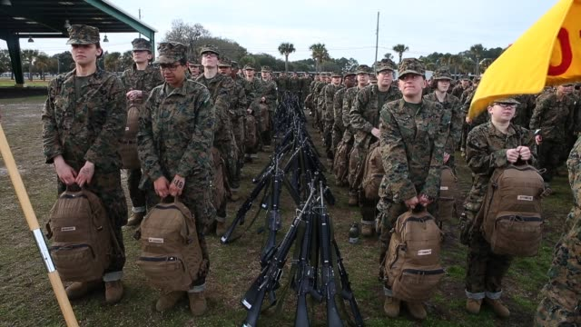 vídeos de stock, filmes e b-roll de female marine recruits train during boot camp february 27 2013 at mcrd parris island south carolina women attend marine boot camp at parris island... - campo de treinamento militar