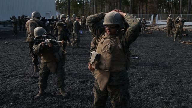 female marines practice stopandsearch techniques during marine combat training on february 20 2013 at camp lejeune north carolina since 1988 all... - united states marine corps stock-videos und b-roll-filmmaterial