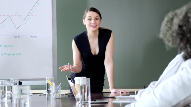 Female marketing executive explains growth chart during meeting