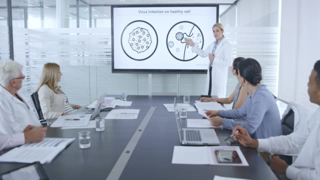 Female medical researcher giving an animated presentation of a virus on the screen in conference room