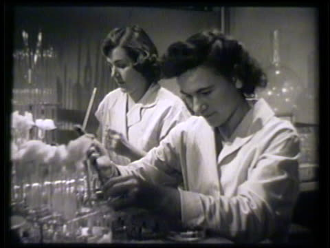 vídeos y material grabado en eventos de stock de female microbiologists working in lab, testing liquids, technician transferring liquid solution from laboratory flasks to petri dishes. antibiotics... - 1952