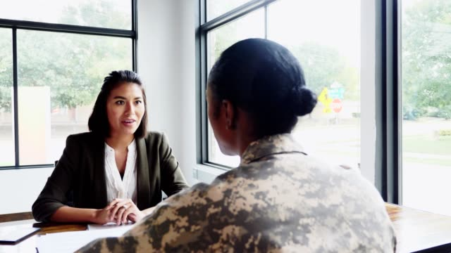 female military soldier meets with counselor - military stock videos & royalty-free footage