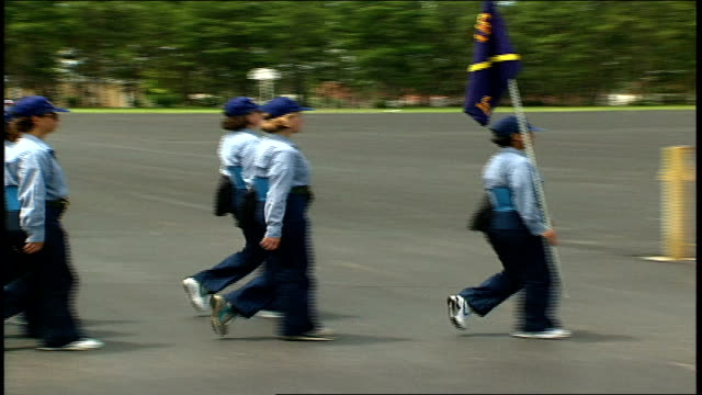 stockvideo's en b-roll-footage met female naval recruits marching in formation - militaire training