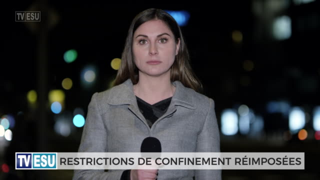 female news reporter live from the field about lockdown restricton - french language stock videos & royalty-free footage