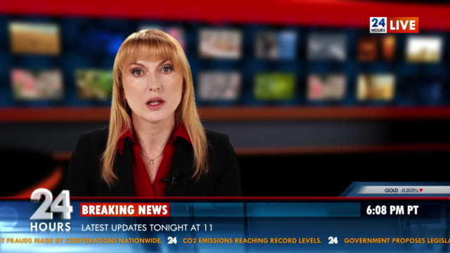hd: female newsreader presenting the news - breaking news stock videos and b-roll footage