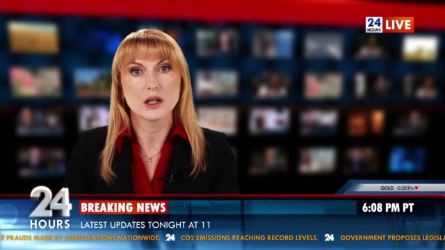 HD: Female Newsreader Reading News