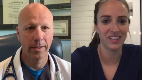 female nurse video conferencing with male doctor. - webbkamera bildbanksvideor och videomaterial från bakom kulisserna