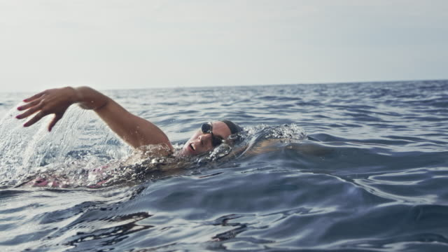 slo mo ts female open water swimmer swimming front crawl at sea - tracking shot stock videos & royalty-free footage
