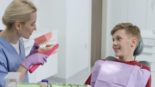 stockvideo's en b-roll-footage met vrouwelijke mondelinge hygienist met behulp van een model om te leren een jongen hoe correct zijn tanden te poetsen - beschermende handschoen