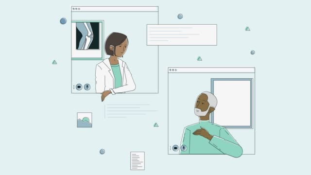 vídeos de stock e filmes b-roll de female orthopedic doctor discusses knee x-ray with patient via telemedicine appointment - old illustration