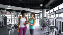 Female personal trainer showing black young customer her workout on tablet while talking
