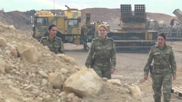 female personnel of the turkish armed forces deployed on the border are actively participating in the country's ongoing counter-terrorism operation... - people's protection units stock videos & royalty-free footage