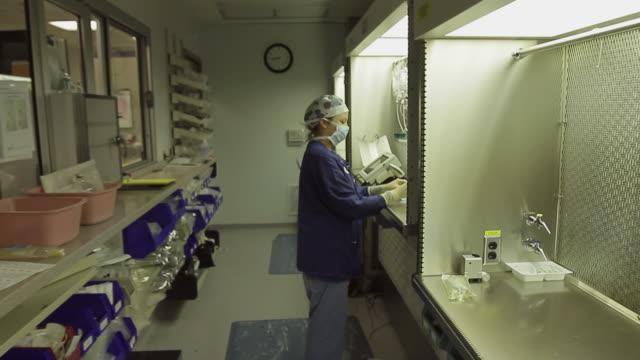 ws zi ms female pharmacist working in 'clean room' preparing iv bag / portland, maine, usa - nurse working stock videos & royalty-free footage