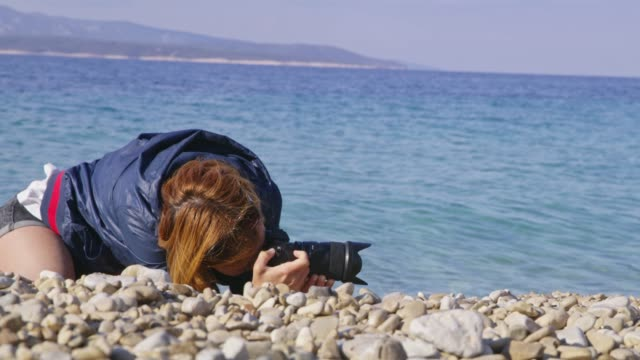 ms female photographer using digital camera on sunny ocean beach - see other clips from this shoot 31 stock videos & royalty-free footage