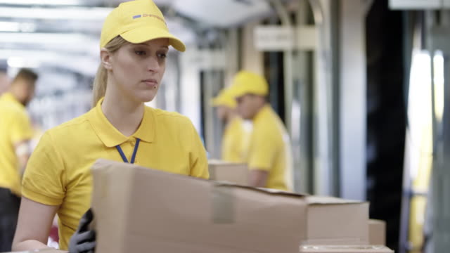 female postal employee sorting packages on the conveyor belt - manufacturing occupation stock videos & royalty-free footage