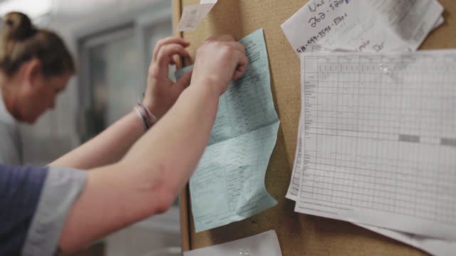 female professional chef inspects a bag of fresh mussels and pins paperwork to a corkboard delivered by a fisherwoman - notice board stock videos and b-roll footage