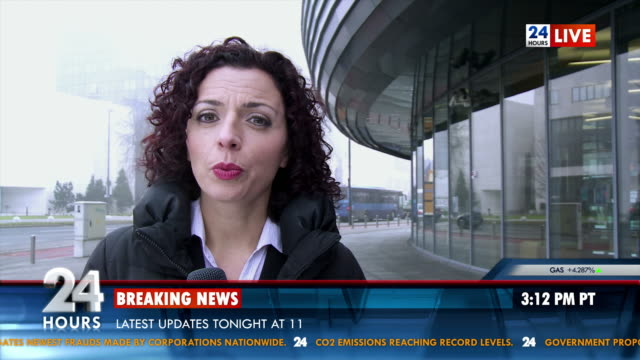 hd: female reporter on location - breaking news stock videos and b-roll footage