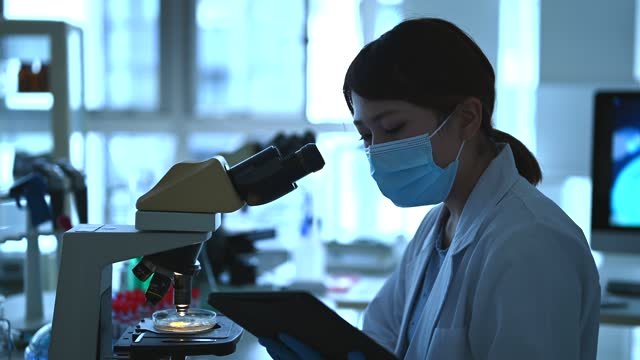female researchers working in a research facility. she looking through a microscope. - 30 seconds or greater stock videos & royalty-free footage