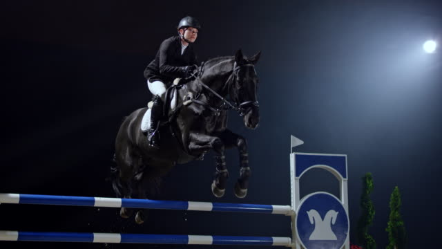 slo mo female rider on her black horse jumping a rail - 乗る点の映像素材/bロール