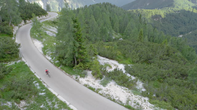 aerial female road cyclist riding on a mountain road surrounded by forest - racing bicycle stock videos & royalty-free footage