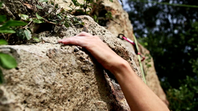 Female rock climber freeclimbing