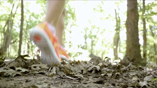 female runner jogging quickly through woods on off road trail - running shorts stock videos and b-roll footage