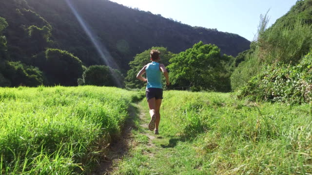 female runner running through a grass valley - following stock videos & royalty-free footage