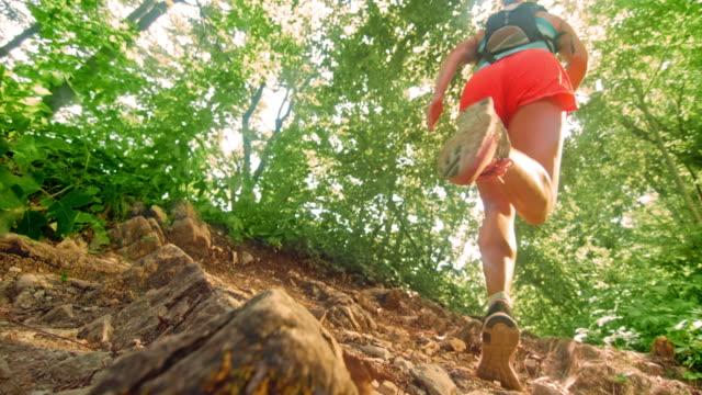 vidéos et rushes de slo mo femelle exécutant le sentier forestier au soleil - vue en contre plongée