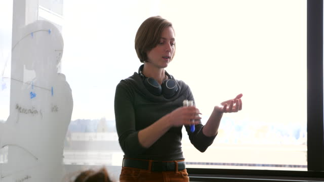 vidéos et rushes de ms female scientist explaining experiment to colleagues in conference room in research lab - s'étendre