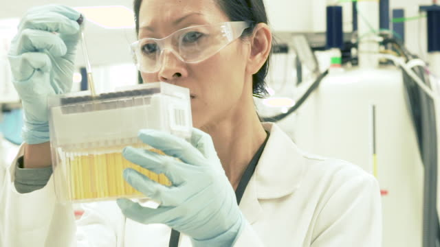 female scientist in bio-medical laboratory examining test tubes - biochemistry stock videos & royalty-free footage