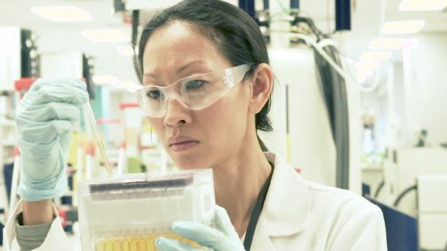 female scientist in bio-medical laboratory examining test tubes - dna video stock e b–roll