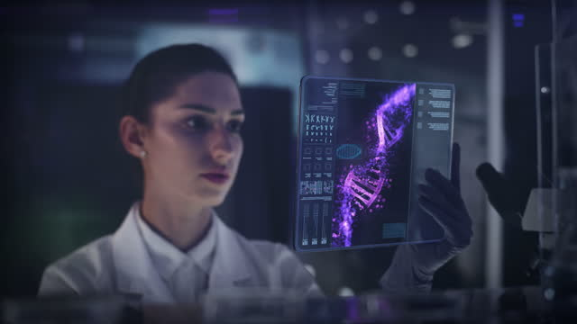 female scientist studying dna mutations. virtual touch screen close up - dna stock videos & royalty-free footage