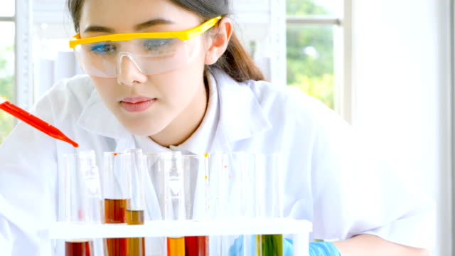 female scientist using pipette filler chemical substance into test tubes during making scientific experiment in the laboratory - vetreria da laboratorio video stock e b–roll