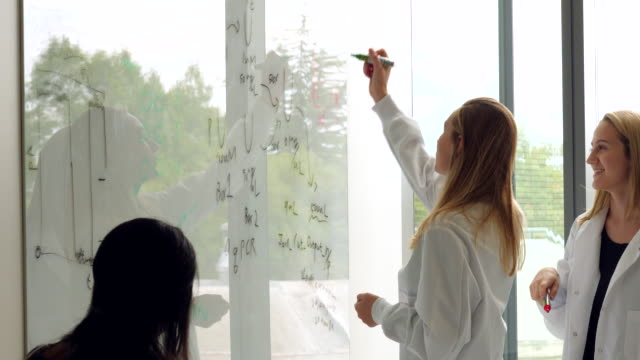 cu female scientists writing formula on white board while leading project discussion with colleagues - information equipment stock videos & royalty-free footage