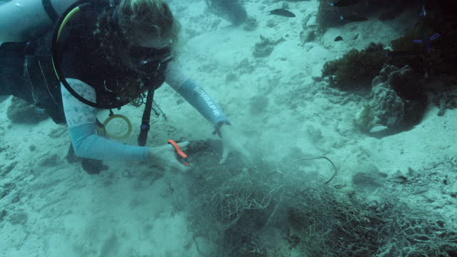 female scuba diver cutting fishing net from underwater coral reef - aqualung diving equipment stock videos & royalty-free footage