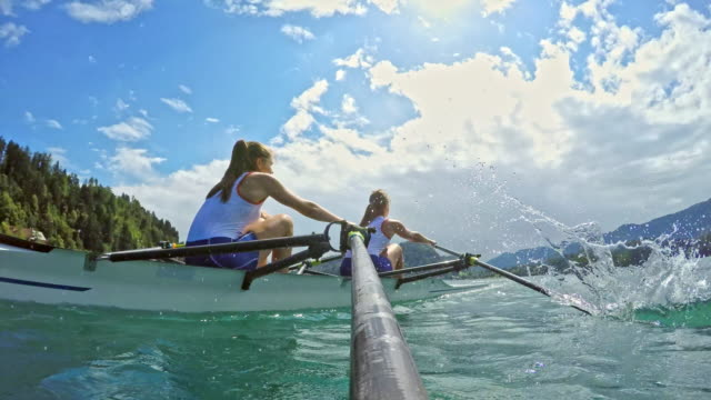 pov female scullers rowing on a lake in sunshine - rowing stock videos & royalty-free footage