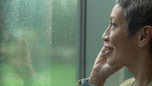 cu td tu female senior executive watching rain through window while talking on cell phone / south orange, new jersey, usa - orange new jersey stock videos & royalty-free footage