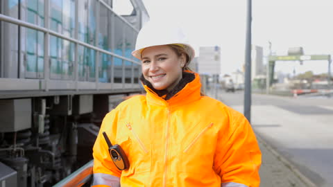 female shipping engineer in protective workwear - engineering stock videos & royalty-free footage