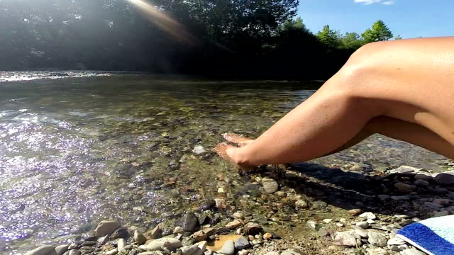 Female smooth legs and feet in river