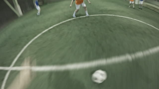 pov of female soccer player missing net and hitting goalpost - 失敗点の映像素材/bロール
