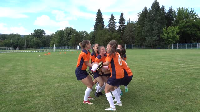 female soccer players celebrating together - females stock videos & royalty-free footage