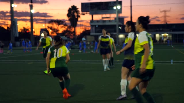 stockvideo's en b-roll-footage met ms female soccer players warming up for match on summer evening - schemering