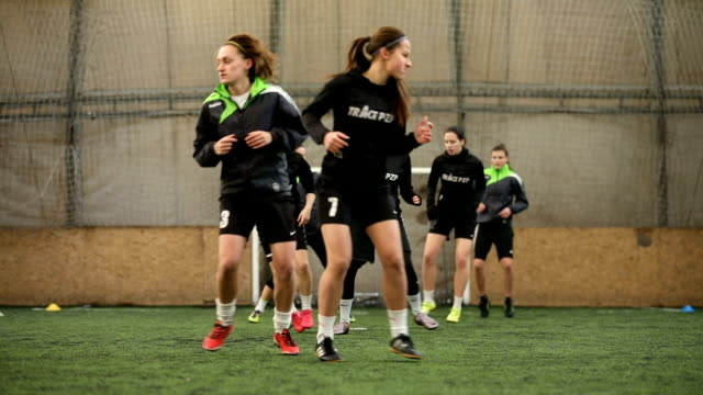 female soccer team having a practice - sporting term stock videos & royalty-free footage
